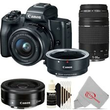 Canon EOS M50 Mirroless Camera w/ 15-45mm + Adapter + 75-300mm + 22mm Kit