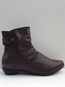 """WOMENS SHOES""""ALMOND""""BY NO!SHOES FLAT LOW HEEL COMFORT BOOT BLK & BROWN 5 to 11"""