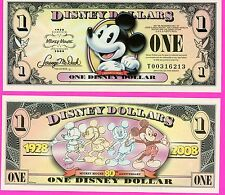 """One 2008 """"T"""" Series Mickey Mouse """"MICKEY 1928 to 2008-80th-Disney Dollar Dollars"""