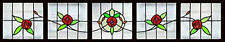 5 Antique Victorian Stained Glass Windows  RUBY ROSES