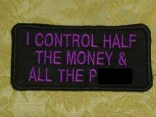 I CONTROL HALF MONEY embroidered biker patch motorcycle