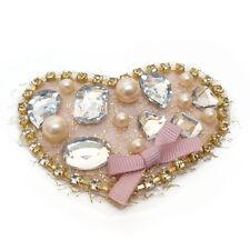 Broche idée cadeau coeur gris Rose doré perles imit. beiges culture strass noeud