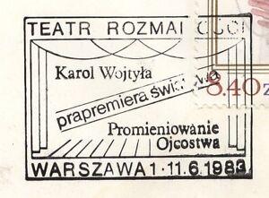 POLAND 1983.06.11 POSTMARK  Pope J. Paul II, playwright