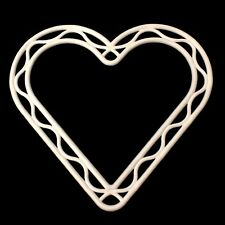 8 INCH WHITE PLASTIC HEART SHAPED WREATH FRAME DECORATION FLORISTRY WEDDINGS