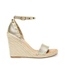 Steve Madden Mckenna Gold Leather Wedge Sandal