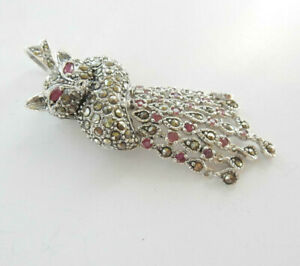 Vintage Ruby Fox Pendant Sterling Silver Marcasite