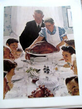 Norman Rockwell Vintage Print Freedom from Want Holiday Turkey 16x11