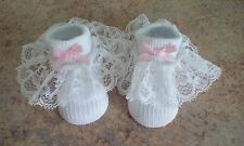 newborn baby girls white socks with romany lace and pink bows brand new
