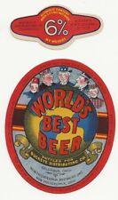 New Philadelphia Worlds Best Beer label with neck Irtp U# Oh