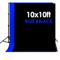 10 X 10FT Chromakey BLUE&BLACK Screen Muslin Backdrop Photo Photography Backgrou