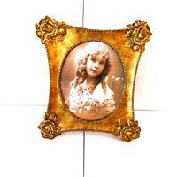 Ornate Gold Tone Picture Frame Carved Rose Design Vtg