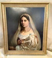 Antik Italienische Renaissance Alt Master La Velata Porträt Malerei Nach Raphael