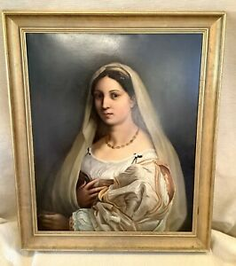 Antique Italian Renaissance Old Master La Velata Portrait Painting After RAPHAEL
