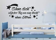 WD Wandtattoo OHNE DICH SPRUCH Bilder Wandsticker Kinderzimmer Sterne Aufkleber