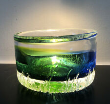 Stunning GORAN WARFF KOSTA BODA SWEDEN Signed Blue Green Glass Bowl