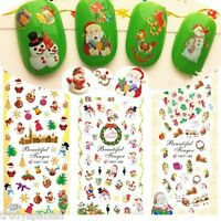 Christmas Nail Art Stickers Water Decals Transfers Snowflakes Bows BIG SHEET