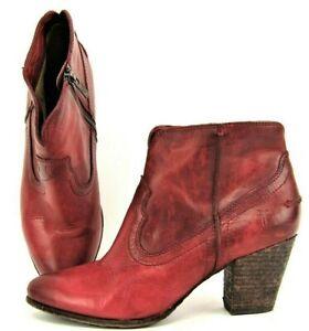 Frye Renee Boot Womens 9 Burgundy Ankle Heel Bootie Zip