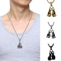 Paar Boxhandschuh Unterschrift Kette Halskette Mini Paar Box Anhänger Schmuck v