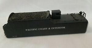 HO SCALE BRASS 6-AXLE COAL TENDER SHELL with DOGHOUSE - CUSTOM PAINTED w/ LOAD