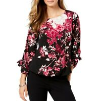 ALFANI NEW Women's Printed Grommet-sleeve Bubble Blouse Shirt Top TEDO