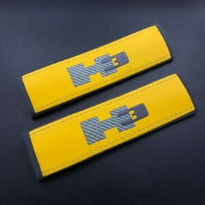 Hummer H3 Yellow Seat belt covers pads with embroidery 2PCS