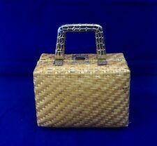 Vintage MAGID Straw/Wicker Metallic Gold Box Purse