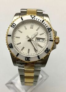 40mm White dial Date Week Sapphire Glass NH36 Automatic Men's Watch Mechanical