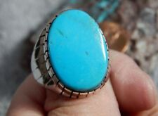 Mens Sterling Silver Kingman Turquoise Inlay  Ring Navajo Ray Jack Size 10 3/4