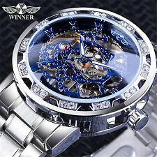 T-WINNER MEN'S STAINLESS STEEL VINTAGE DIAMOND HOLLOW MECHANICAL WATCHES # 1089