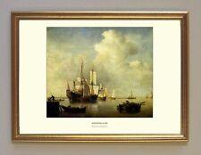 Van de velde viento silencio lago holanda 1700 marine pintor facsímil 2 en el marco de oro