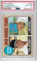 1968 Topps #569 NL Rookies Ivan Murrell, Les Rohr PSA 8 NM-MT New York Mets