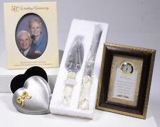 (4) 50th Wedding Anniversary Ivory: Cake Serving Set Clock Frame Trinket Box