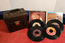 Vintage Brown Padded Faux Leather 45 RPM Vinyl Record Case,Carrying/Storage Case