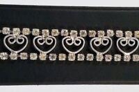 Vintage Silver Tone Clear Rhinestone Open Heart Filigree Bracelet