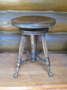 Victorian Era Vintage Wooden TONK Adjustable PIANO STOOL New York CLAW FEET