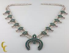 Maryann Felix Chavez Sterling Silver & Turquoise Zuni Squash Blossom Necklace