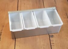 4 Pint COMPACT FRUIT TRAY Bar & Home Garnish Center Stainless Condiment Caddy