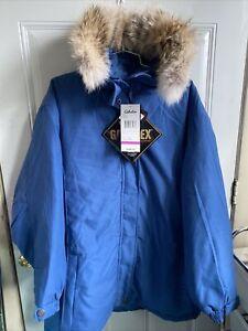 Cabela's Womens Gore-Tex Parka Jacket Winter Coat Sz 2XL Blue Coyote Fur Hooded