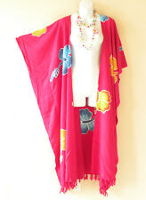 Pink Batik Cardigan Duster Kaftan Batwing Plus Big Long Hippy Jacket - up to 5X