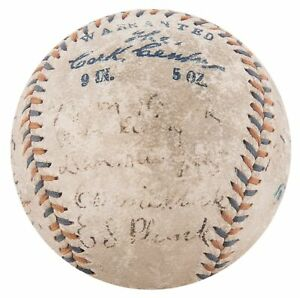 Eddie Plank 1913 Philadelphia Athletics A's W.S. Champs Team Signed Baseball JSA