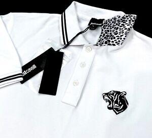 JUST CAVALLI White Tiger Head Logo Button Up Men's Polo Shirt M