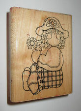 "Girl Sarah Rubber Stamp Sunflowers Hat D.O.T.S. Wood Mounted 3"" High Plaid Pants"