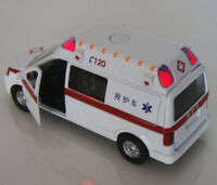 Alloy Toys Diecast Car 1/32 White Ambulance Medical vehicles Model w/Light&Sound