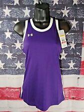 Under Armour Women's UA Logo wite Stripe solid Loose Tank Purple Size XS XSmall