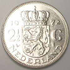 1972 Netherlands Dutch 2 1/2 Gulden Juliana Coin XF