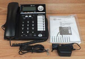 Genuine AT&T (993) Black 2 Line Corded Telephone With Speakerphone & Manual