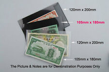 NEW 5xBanknote MINISHEET Stamps Holders Black underlayed Single Side 105mmx180mm