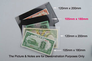 NEW 10 Banknote MINISHEET Stamps Holders Black underlayed Single Side 105x180mm