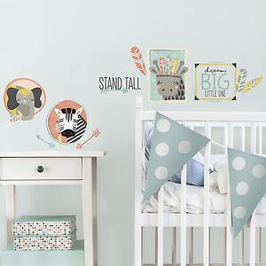 LITTLE EXPLORER ANIMAL GALLERY WALL DECALS 14 Big Animals Baby Nursery Stickers