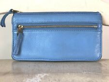 FOSSIL Women's Periwinkle Blue Soft Leather Bifold Wallet Clutch Medium